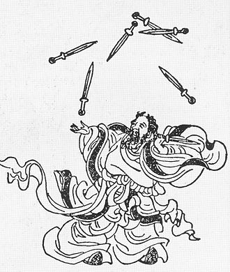 History of juggling - Lanzi juggling seven swords, from a collection of Ming Dynasty woodcuts.