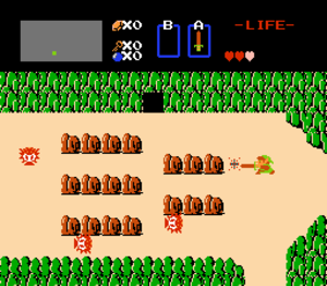 Link fights enemies on the overland map of Hyr...