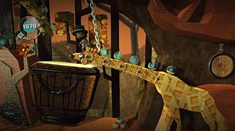 LittleBigPlanet (2008 video game) - A screenshot from the Savannah level Swinging Safari in LittleBigPlanet.