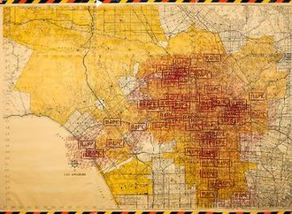 "Every day of the performance Lacy marked a map of Los Angeles with a large red ""RAPE"" stamp to indicate where rapes had been reported the previous day. Los Angeles rape map from Three Weeks in May.jpg"