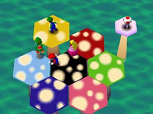 Mario Party (video game) - Mushroom Mix-Up, one of the 53 mini games in Mario Party.