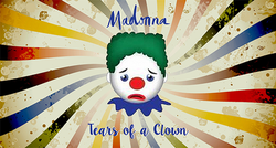 Picture of a clown's face with sad expression, in front of a whirling colorful backdrop.