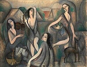 Marie Laurencin - Image: Marie Laurencin, 1910 11, Les jeunes filles, Jeune Femmes (Young Girls), oil on canvas, 115 x 146 cm, Moderna Museet, Stockholm
