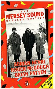 Front cover of the 1983 revised edition of The Mersey Sound. Left to right: Brian Patten, Adrian Henri, Roger McGough.