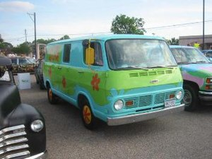 Scooby-Doo - A 1968 Chevrolet Sportvan 108 painted to look like The Mystery Machine from Scooby-Doo. A number of Scooby fans have decorated vans in this fashion.
