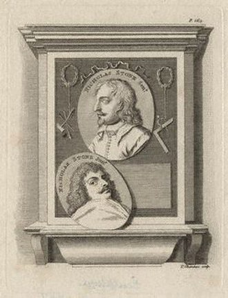 Nicholas Stone - Engraving of the now lost monument to Nicholas Stone (centre) and his son