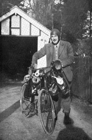 O. G. S. Crawford - O. G. S. Crawford with bike