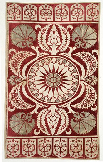 Culture of the Ottoman Empire - 17th-century Ottoman velvet cushion cover, with stylized carnation motifs. Floral motifs were common in Ottoman art.