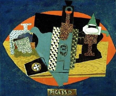 Pablo Picasso, 1916, L'anis del mono (Bottle of Anis del Mono) oil on canvas, 46 x 54.6 cm, Detroit Institute of Arts, Michigan
