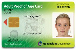 Australian state and territory issued identity photo cards - Image: Queensland Adult proof of age card