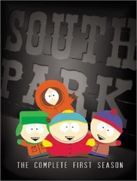 "A gray box contains four crudely drawn cartoon children waving their hands. They have big round heads and wear colorful winter clothes. Behind them is ""SOUTH PARK"" in big letters, and below them is ""THE COMPLETE FIRST SEASON""."