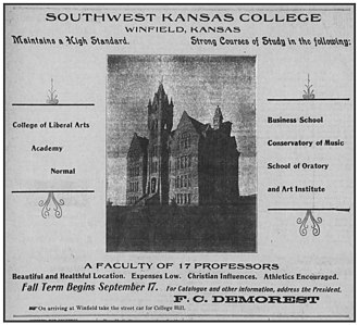 """Southwestern College (Kansas) - A 1901 newspaper advertisement for Southwest Kansas Conference College touting the school's """"Christian influence."""""""