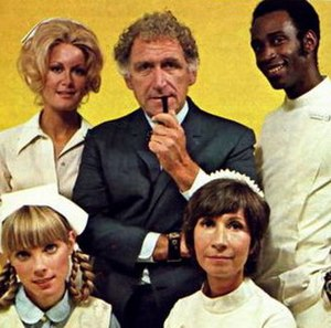 Temperatures Rising - First season cast. Top row: Joan Van Ark, James Whitmore, Cleavon Little; bottom row: Nancy Fox, Reva Rose