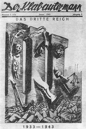 """Home Army - Der Klabautermann (an Operation N magazine), 3 January 1943 issue, satirizing Third Reich Nazi terror and genocide. At right, emerging from the III (""""Three"""", of """"Third Reich""""): Hitler and Himmler."""