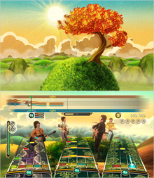 Two virtual color images. The top shows a single leafy tree on an exaggerated hillside, individual curly blades of grass cover it, against a distant image of hills and mountains along with a yellow-orange tinted sunny sky. The bottom image shows elements of the top image incorporated with the Rock Band gameplay elements overlaying it