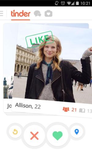 Tinder (app) - Image: Tinder screenshot
