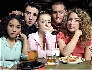 Two Pints of Lager and a Packet of Crisps - The original cast from 2001–2006: (back) Ralf Little (Jonny), Will Mellor (Gaz) (front) Kathryn Drysdale (Louise), Sheridan Smith (Janet), Natalie Casey (Donna)