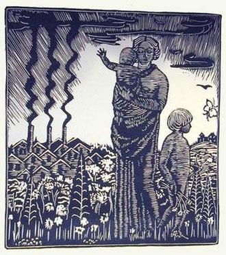 Wharton Esherick - Wharton Esherick's woodblock print for Song of the Broad-Axe by Walt Whitman, 1924