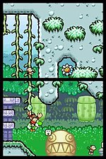 Yoshis island ds wikipedia a screenshot showing yoshis island dss distinctive graphical style the nintendo dss two screens function as one tall screen sciox Image collections