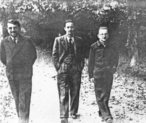 Cadix - From left: Top Polish analysts Zygalski, Różycki, and Rejewski. Photo taken at Cadix between September 1940 and June 1941.