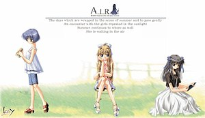 Air (visual novel) - Air original visual novel cover. Depicted are Kano (left), Misuzu (center), and Minagi (right).