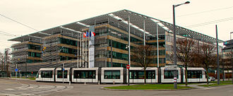The current headquarters of the Alsace Regional Council, which serves as the headquarters of Grand Est's regional council Alsace Regional Council headquarters in Strasbourg January 2013.jpg