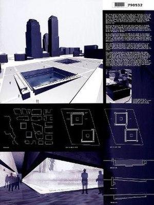 Michael Arad - Original Michael Arad design board submitted in the World Trade Center Memorial Design competition