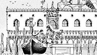 Drawing of the Palazzo Ducale, with a spaceship behind, and a gondola loading passengers in the foreground