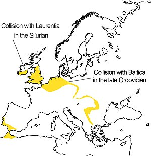 Avalonia - This map shows the positions of the rocks of Avalonia remaining in Europe. The notes on it indicate the part which collided with Baltica in the upper Ordovician and that which collided with Laurentia in the Silurian. The parts of Avalonia now in Iberia and Morocco were carried there by rotation of Iberia during the subsequent collision with Gondwana followed by separation. These rocks are by no means all at the modern surface.