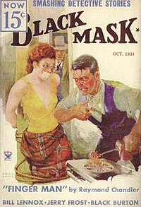 "Magazine cover with illustration of a terrified-looking, red-haired young woman gagged and bound to a post. She is wearing a low-cut, arm-bearing yellow top and a red skirt; in front of her, a man with a large scar on his cheek and a furious expression heats a branding iron over a gas stove. In the background, a man wearing a trenchcoat and fedora and holding a revolver enters through a doorway, the text includes the tagline ""Smashing Detective Stories"" and the cover story's title, ""Finger Man""."