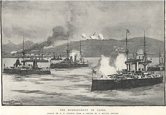 International Squadron (Cretan intervention, 1897–1898) - International Squadron bombarding Chania, 21 February 1897.