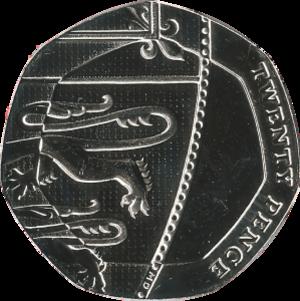 Twenty pence (British coin) - Image: British twenty pence coin 2015 reverse