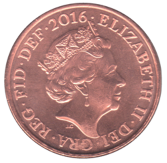 Two pence (British decimal coin) - Image: British two pence coin 2016 obverse