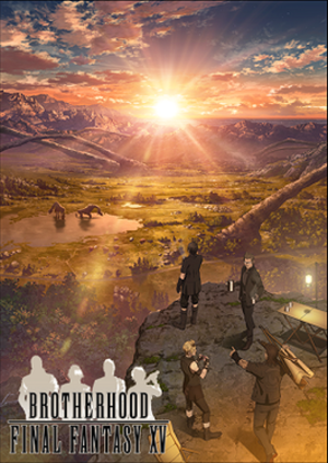 Brotherhood: Final Fantasy XV - Key visual featuring the four main characters in the bottom right corner. From bottom right going clockwise: Gladiolus, Prompto, Noctis, and Ignis.