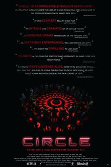 "The cover of the film. There are several reviews at the top. Below them, a large group of people stand in a circle in the dark. There are red markings on the floor. Below the image is the title of the movie (Circle) and the caption, ""On Netflix & Vod everywhere October 16th""."