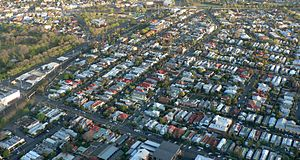 Clifton Hill, Victoria - Aerial view of Clifton Hill looking north to Queens Parade and Merri Creek.  Hoddle Highway is the main road on the left and Darling Gardens is far left.