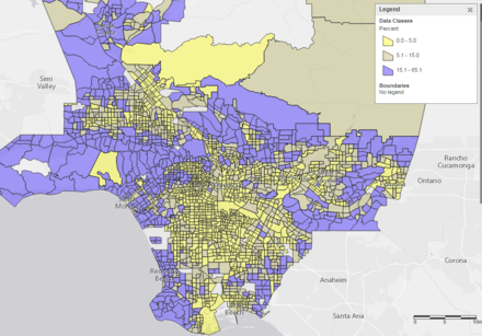 Percent of households with incomes above $150k across LA County census tracts. Distribution of high income households across LA County.png