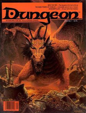 """Dungeon (magazine) - """"Into the Fire"""" by Keith Parkinson Cover of Dungeon Adventures Issue 1 Dated September/October 1986"""