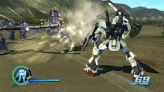 Dynasty Warriors: Gundam - RX-178 fires hyper bazooka at MS-07 Gouf mobile suit.