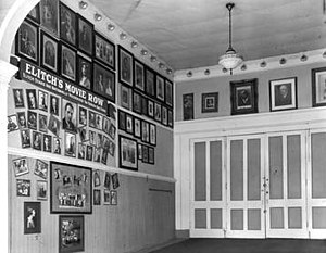 Elitch Theatre - Elitch Theatre lobby showing part of the photograph collection, c. 1930-1940.
