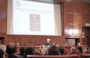 Muhammad Tahir-ul-Qadri - Qadri at a news conference in London explaining the Fatwa on Terrorism.