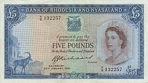 Federation of Rhodesia and Nyasaland - Federation Five Pound Note (1961)
