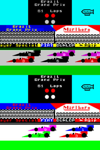 Formula One (1985 video game) - There are visible differences between the Zx Spectrum (top) and Amstrad CPC (bottom).