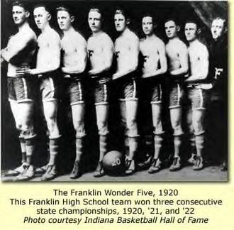 "Franklin Wonder Five - Left to right: Burl Friddle, Ralph Hicks, Paul White, Robert ""Fuzzy"" Vandivier, Sima Comer, Johnny ""Snake Eyes"" Gant, Harold Borden, Pete Keeling, coach Ernest ""Griz"" Wagner"