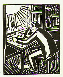 Black-and-white illustration of a man seated and hunched over a table, facing left, hold his art tools.  Out the window on the left, the sun beats down upon the man.