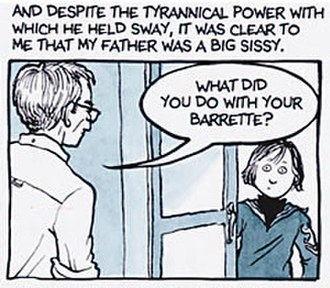Fun Home - A panel from Fun Home depicting   Bruce (left) and Alison Bechdel.