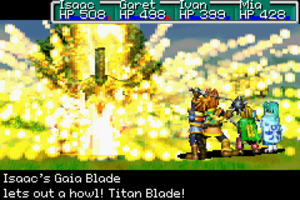 Golden Sun - Battles in Golden Sun have many special effects. Here, a weapon specific attack is unleashed by the sword Gaia Blade.