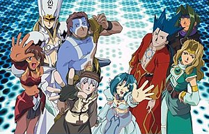.hack//Sign - Clockwise from top-left: Helba, Bear, Crim, Sora, BT, Subaru, Tsukasa, and Mimiru
