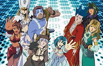 .hack//Sign - Clockwise from top-left: Helba, Bear, Crim, Sora, BT, Subaru, Tsukasa, and Mimiru