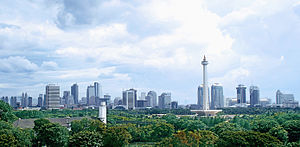 "National Monument (Indonesia) - ""Monas"" and the Jakarta skyline"